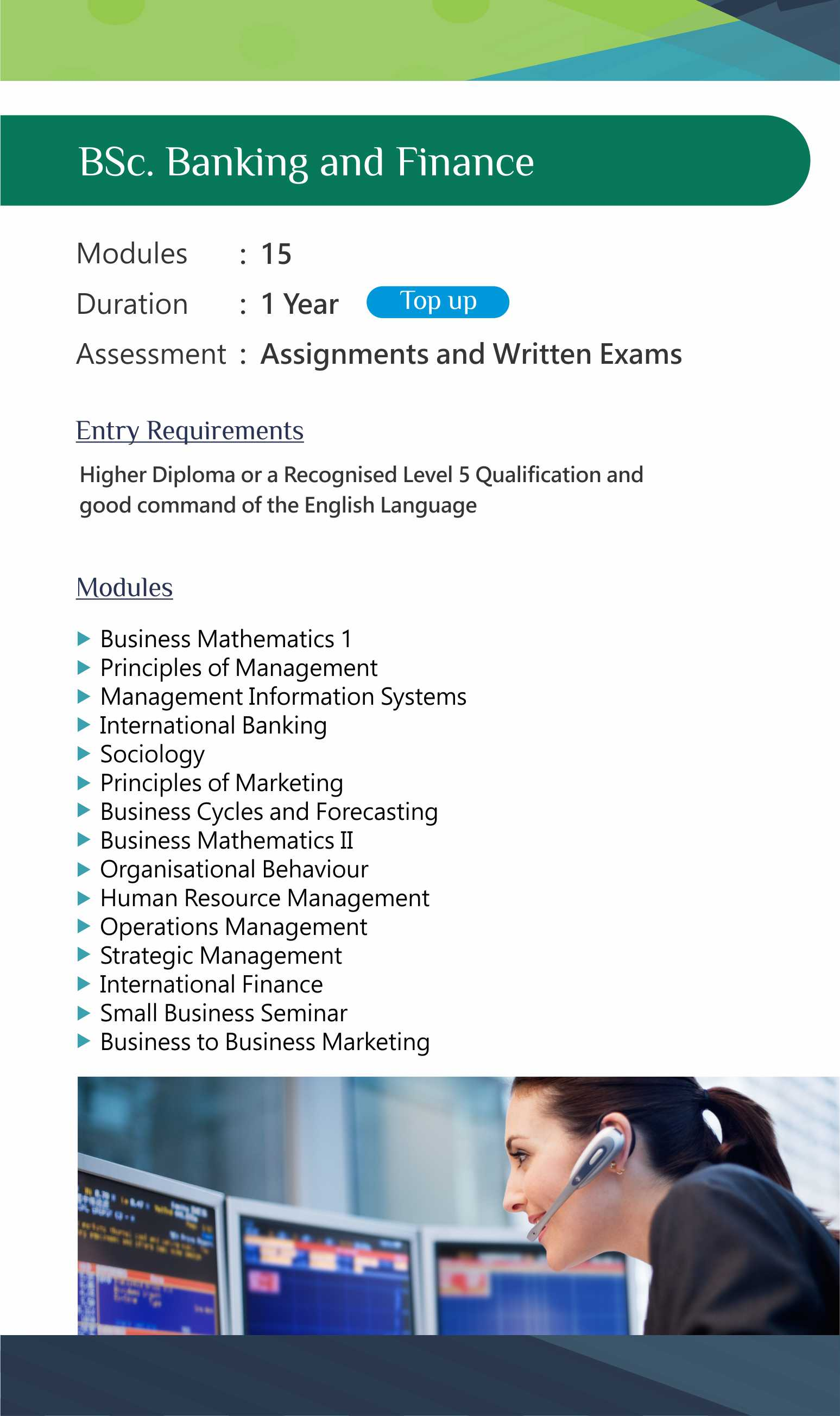 BSc. Banking and Finance (Final Year Top-Up)