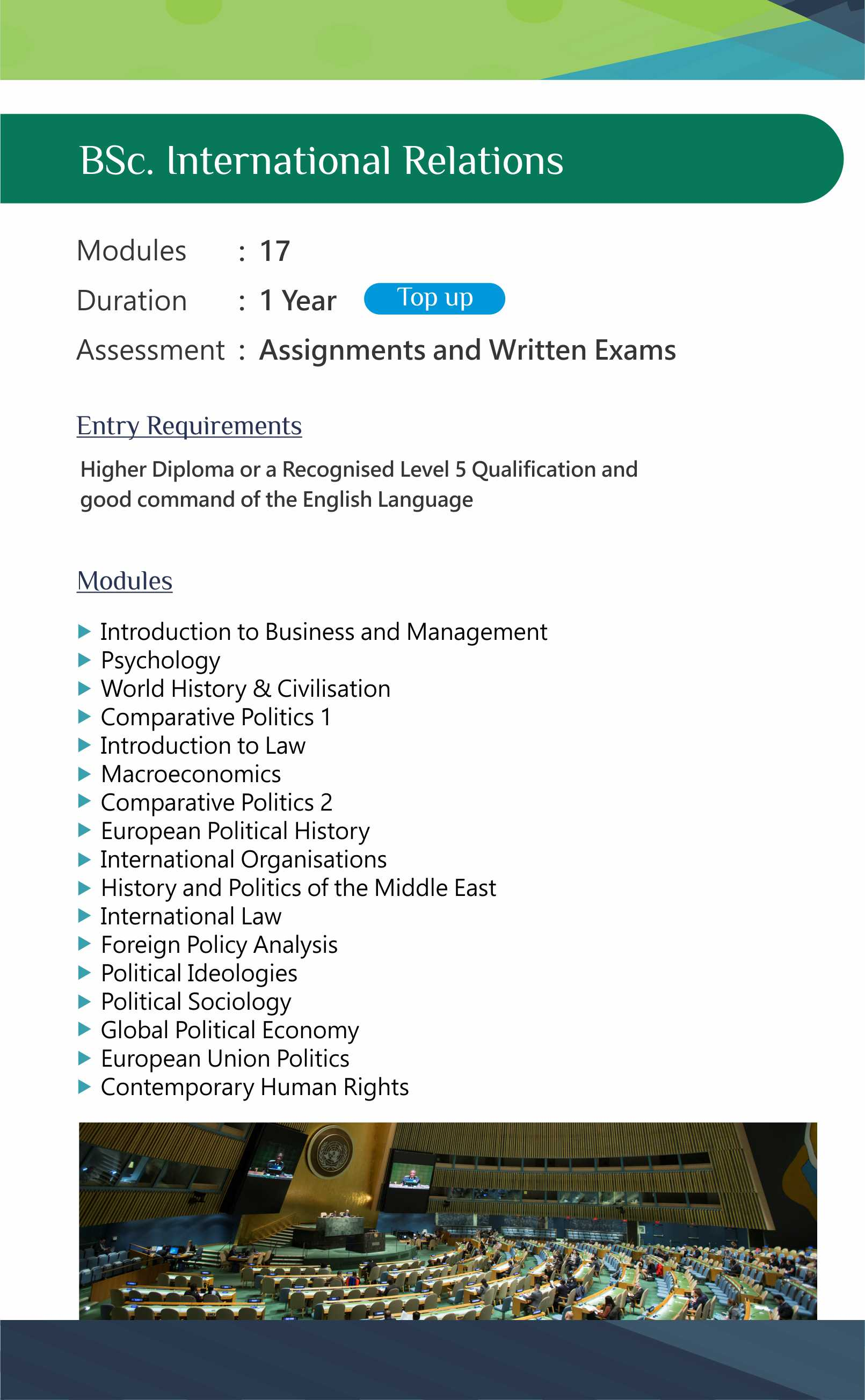 BSc. International Relations (Final Year Top-Up)