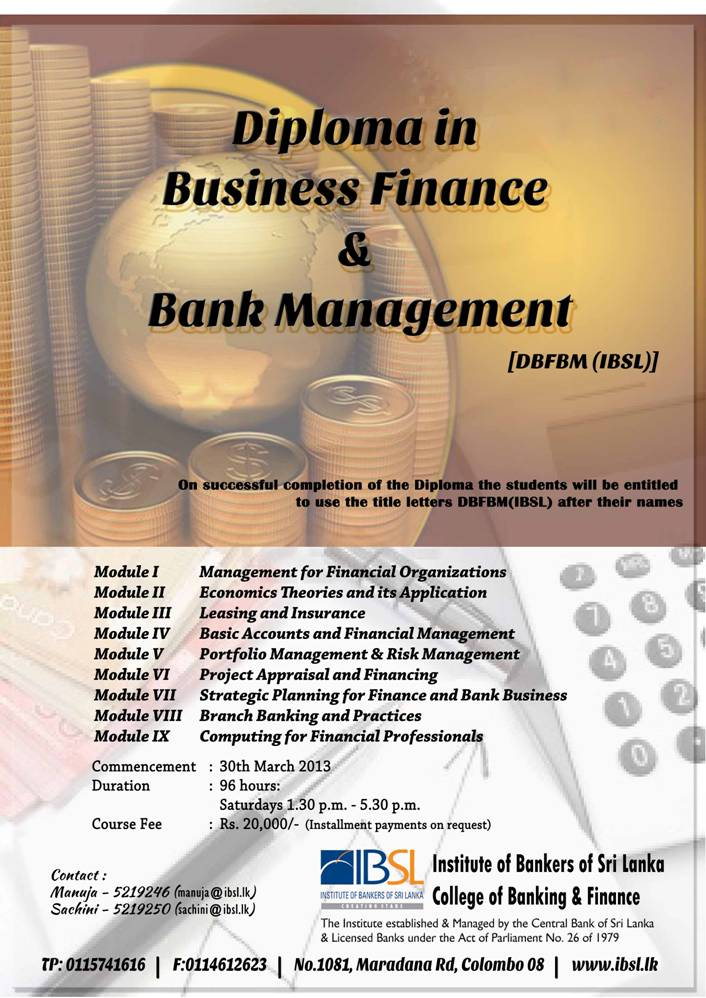 Diploma in Business Finance & Bank Management