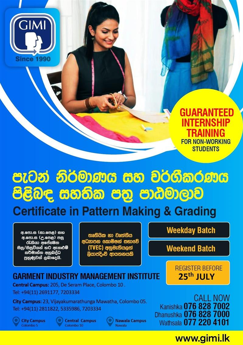 Certificate in Pattern Making & Grading