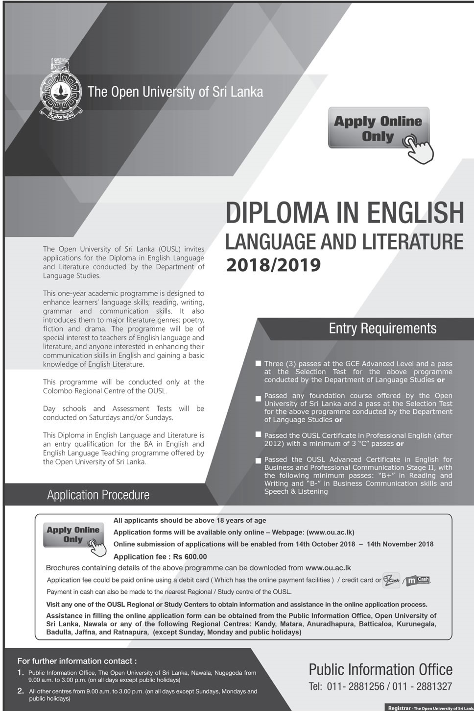 Diploma in English Language and Literature
