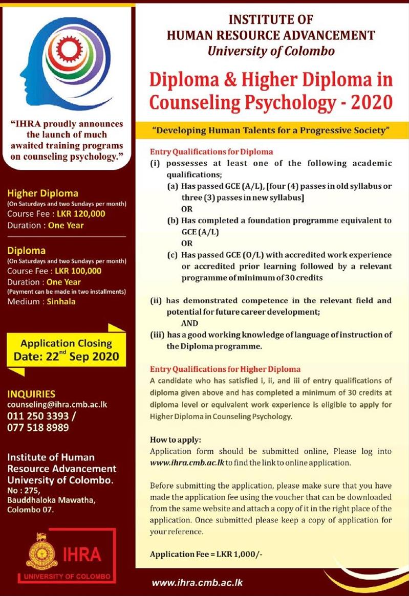 Diploma and Higher Diploma in Counseling Psychology